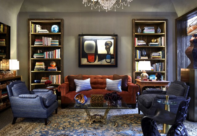 David Kleinberg Design Associates created this deluxe library Photo by: Phillip Ellis